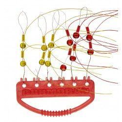 Stopery ze szklanym koralikiem cormoran, żółte i czerwone (12szt.)