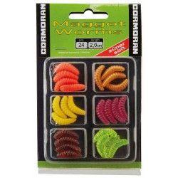 Sztuczne robaki Cormoran Maggot Worms, 2cm jaskrawe kolory (6x4szt.)