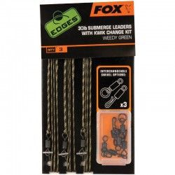Przypony Fox Submerge Leaders With Kwick Change Kit Green 75cm 30lb (3szt.)