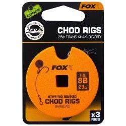 Przypon Fox Chod Rigs Standard Barbless 25lb nr. 8B 8cm (3szt.)