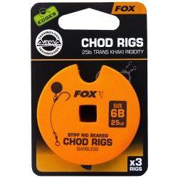 Przypon Fox Chod Rigs Standard Barbless 25lb nr. 6B 8cm (3szt.)