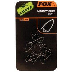 Agrafki do białych robaków Fox Edges Maggot Clips, rozm.6 (15szt.)